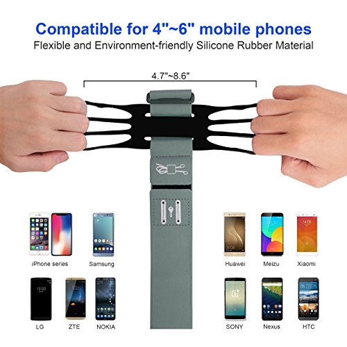 Running Armband for iPhone X/iPhone 8 Plus/ 8/7 Plus/ 6 Plus/ 6, Galaxy S8/ S8 Plus/ S7 Edge, Note 8 5, Google Pixel with Key Holder Phone Armband for Hiking Biking Walking Running(Black) by CICO (Image #1)