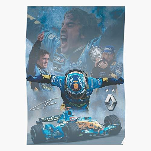 Formula 1 Edit Fernando F1 Alonso Renault Motoring Póster de impresión de arte de pared para decoración del hogar !