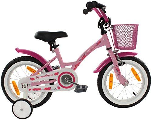 PROMETHEUS Kinderfahrrad 14 Zoll Mädchen Kinderrad in Farbe Rosa Lila & Weiß mit Stützrädern | Seitenzugbremse und Rücktrittbremse | ab 4 Jahren | 14