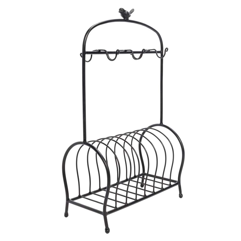 GOTOTOP Bird Cage Shape Table Meal Tray Holder Black