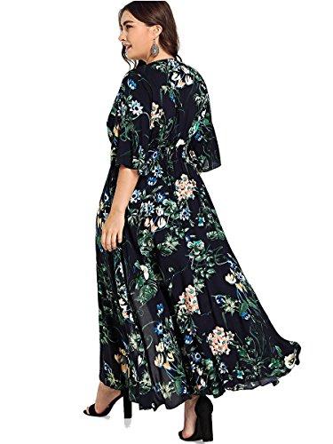 e0dc7f6e1b9 Romwe Women s Plus Size Floral Print Buttons Short Sleeve Split Flowy Maxi  Dress Black 0XL