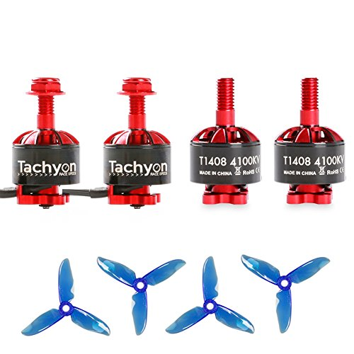 iFlight 4pcs Tachyon T1408 4100KV 2-4S Brushless Motor with 3 Inch Props for 130-180mm RC Racing Micro Drone Multirotor Quadcopter by iFlight