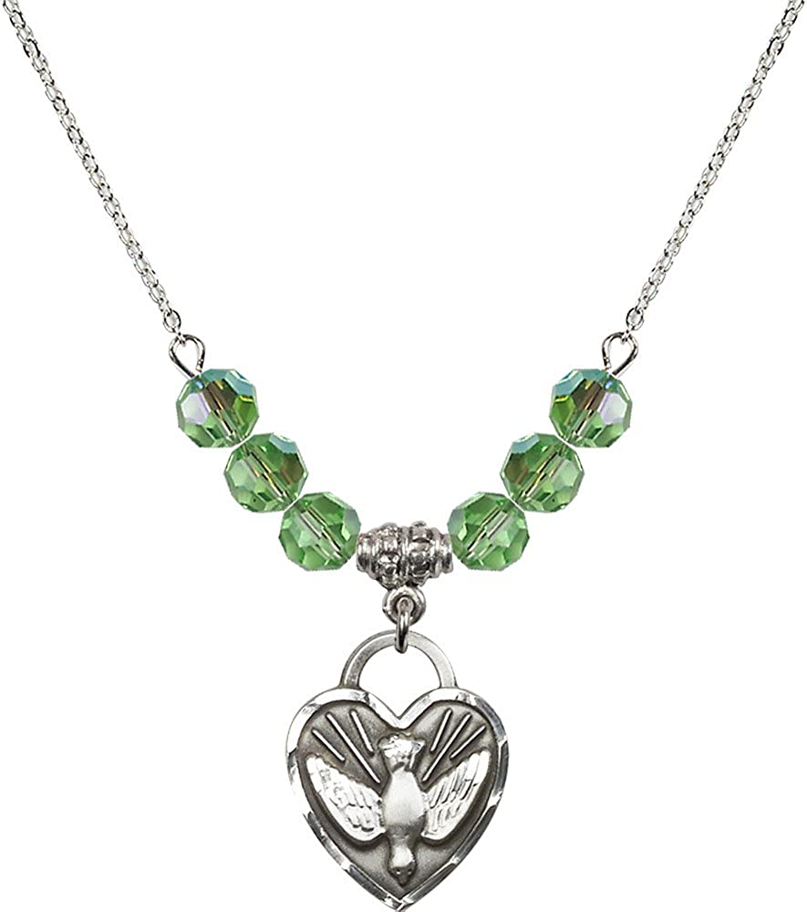 18-Inch Rhodium Plated Necklace with 6mm Peridot Birthstone Beads and Sterling Silver Confirmation Heart Charm.
