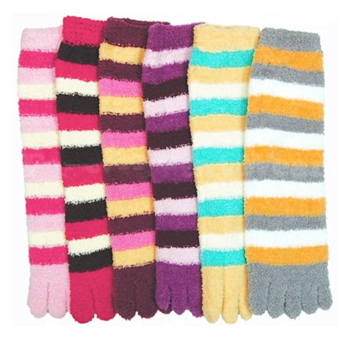 3 Pairs Lot Fuzzy Toe Socks Soft Striped Womens Thong Flip Flop Wholesale ()