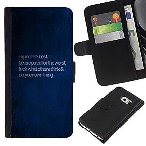 Samsung Galaxy S6 EDGE SM-G925 , la tarjeta de Crédito Slots PU Funda de cuero Monedero caso cubierta de piel ( Blue Love Quote Message Paint Wallpaper)