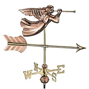 Good Directions Angel Cottage Weathervane with Roof Mount, Pure Copper