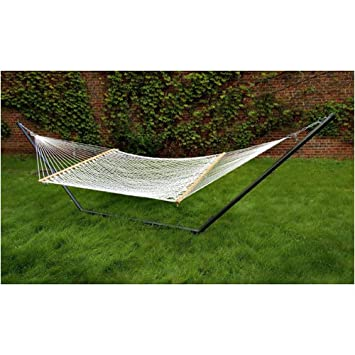 Medium image of double rope hammock w wooden spreader bars