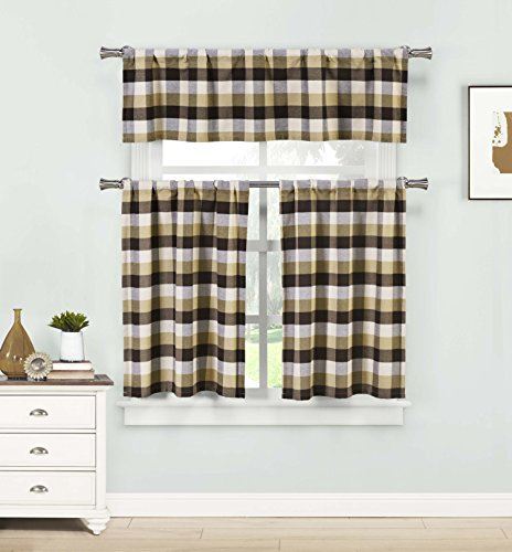 Home Maison  - Kingsville Country Plaid Gingham Checkered Kitchen Tier & Valance Set | Small Window Curtain for Cafe, Bath, Laundry, Bedroom - (Brown)