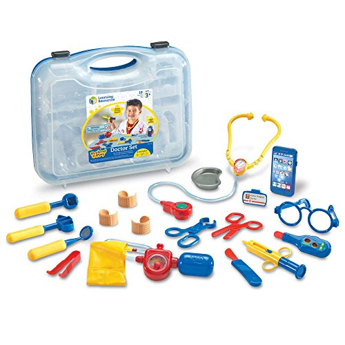 Learning Resources Pretend & Play Doctor Set, 19 Pieces, Blue - Kids Dr Kit