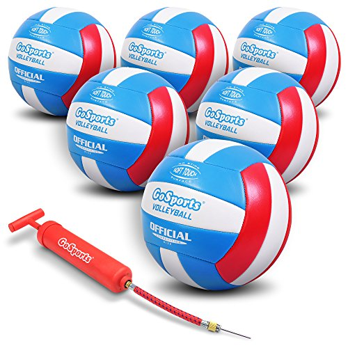 GoSports Soft Touch Volleyballs - 6 Pack - with Premium Air Pump & Mesh Carrying Bag