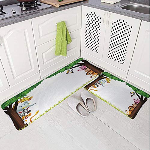 2 Piece Non-Slip Kitchen Mat Rug Set Doormat 3D Print,Jungle Safari Animals Wilderness Tropical African,Bedroom Living Room Coffee Table Household Skin Care Carpet Window Mat,