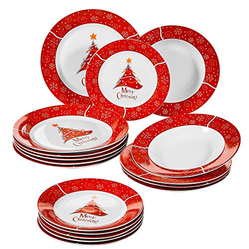 VEWEET 18-Piece Porcelain Stoneware Dinnerware Set Christmas Tree Pattern Plate Sets with Dinner Plate, Dessert Plate, Soup Plate, Service for 6 (CHRISTMAS Series)