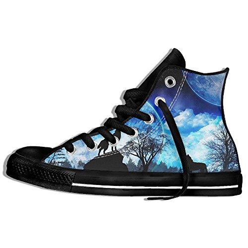 Classic High Top Sneakers Canvas Shoes Anti-Skid Cool Wolf Casual Walking For Men Women Black xu5fUltD