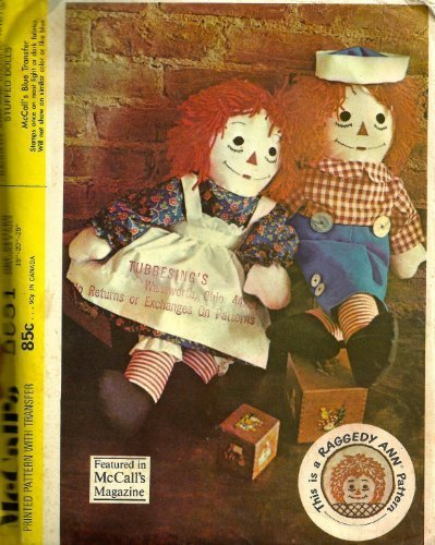 McCall's 2531 Vintage Sewing Pattern for Raggedy Ann and Andy Stuffed Dolls with (Raggedy Ann And Andy Doll Patterns)