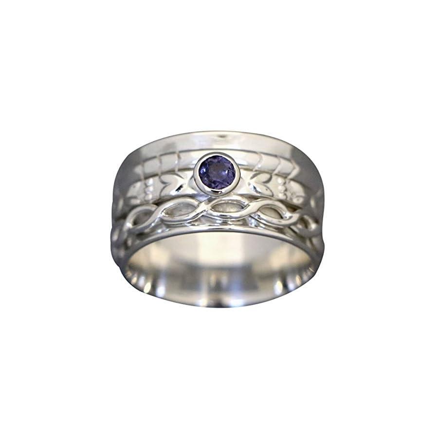 "Energy Stone ""HEARTSTRINGS"" Meditation Spinner Ring Faceted Iolite (Style# US49)"
