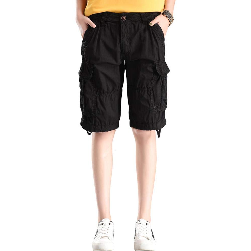 MUST WAY Women's Casual Loose Fit Relaxed Sports Wear Bermuda Cargo Shorts with Multi Pockets 18330GKNK3 Black 16