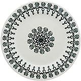 Conjunto com 6 Pratos Raso Biona Donna Folk Marfim e Preto 24 cm