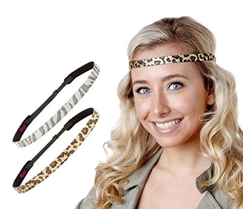 Print Skinny Headband (Hipsy Women's Adjustable NON SLIP Skinny Animal Print Headband Multi 2pk (Leopard & Zebra))
