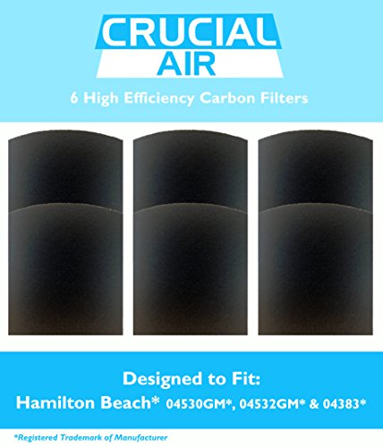 Price comparison product image 6 Crucial Air Replacement Carbon Filters Fit Hamilton Beach True Air 04530GM 04532GM 04383 04531GM 04530F 04294 By Crucial Air