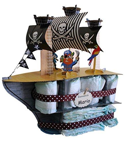 tarta de pa/ñales original tarta pa/ñales regalo original para beb/é Tarta de pa/ñales Barco Pirata