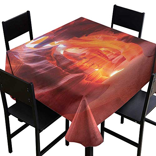 Dining Sunbrella Sandstone - OUTDRART Square Tablecloth Wood Americana,Sunbeam Piercing Through Sandstone at High Noon in Antelope Canyon Picture,Orange Red Coral,W54 x L54 Square Polyester Tablecloth