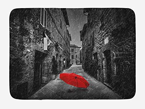 (Black and White Bath Mat, Red Umbrella on a Dark Narrow Street in Tuscany Italy Rainy Winter, Plush Bathroom Decor Mat with Non Slip Backing, 23.6 W X 15.7 W)
