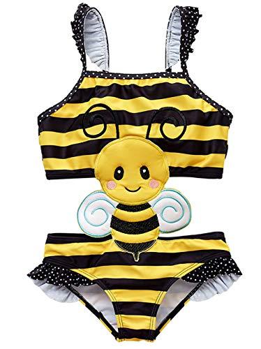 Coralup Toddler Girls Honey Bee One Piece Swimsuits Ruffle Swimwear Beach Bikini 18-24Months -