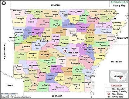 Amazon.com : Arkansas County Map - Laminated (36