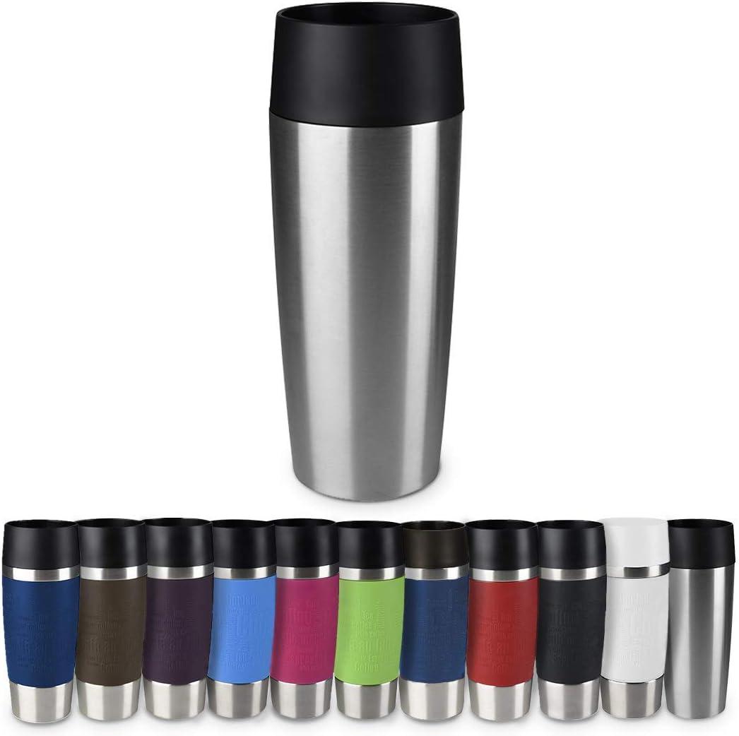 "Emsa Vacuum Mug""Travel Mug"" 12.2 fl oz of Stainless Steel/Plastic, Silver/Black"