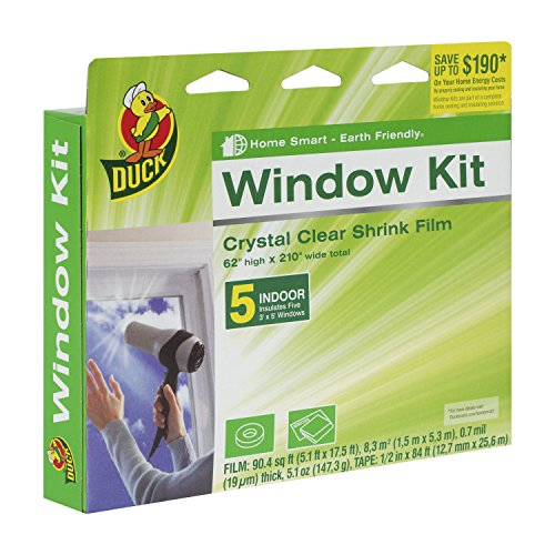 Duck Brand Kit Aislante Retráctil para Ventana de Interiores Crystal Clear 62 x 210 pulgadas