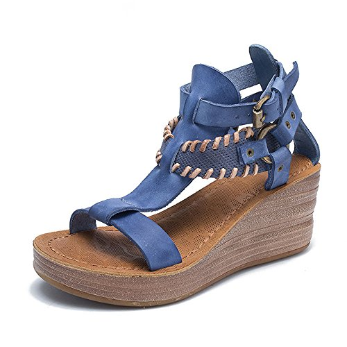 Azul de MIAOMIAOWANG 2 de Romanas tamaño Sandalias EU 3 Color Retro Personalidad tacón Cuero 36 Verano Cuero la Alto de del Marrón Zapatos de wTTYRxqrn