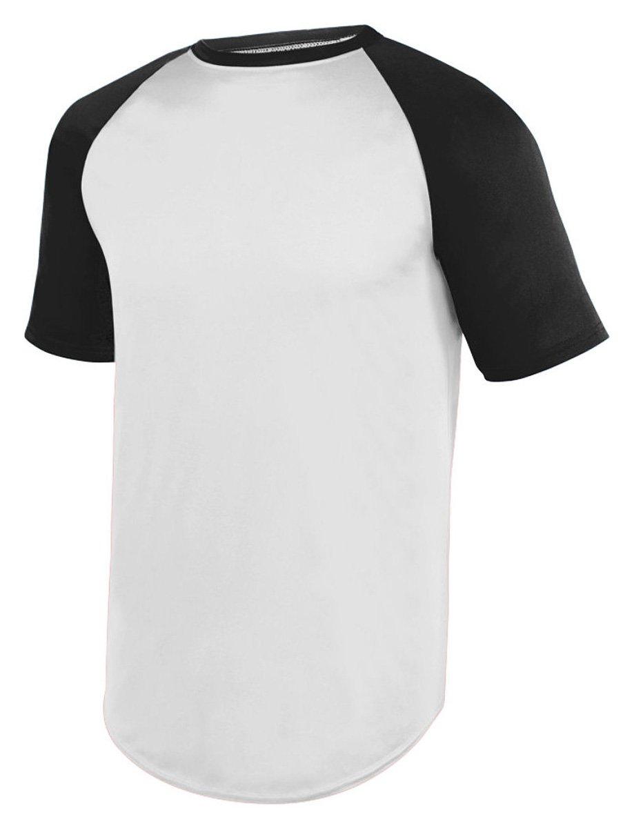 Augusta SportswearメンズWicking半袖野球ジャージー B01MCSWF7T Large|ホワイト/ブラック ホワイト/ブラック Large