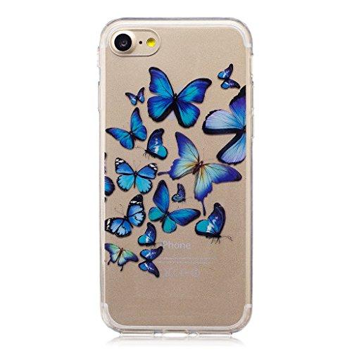 Crisant Schmetterlingsgruppe Drucken Design weich Silikon Ultra dünn TPU Transparent schutzhülle Hülle für Apple iPhone 7 4.7'' (4,7''),Premium Handy Tasche Schutz Case Cover Crystal Bumper Schale für