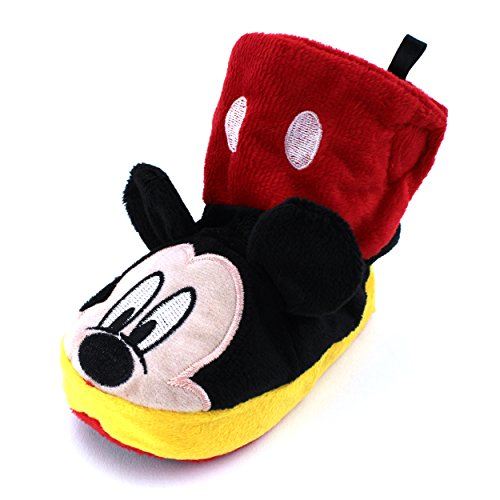 Mickey Mouse Kids Boot Slippers (Mickey Black/Red, S (3/4) M US Toddler)