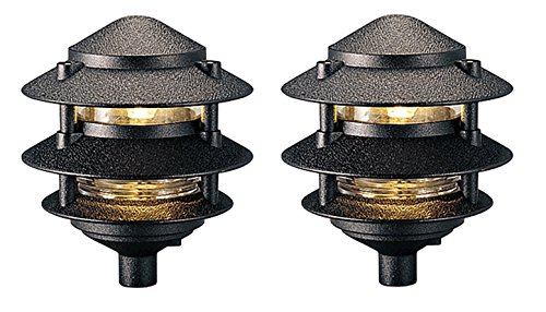 Cast Aluminum One Light - Pagoda Collection One-Light Landscape, Cast Aluminum, Clear Glass Liner. Black, 2-Pack