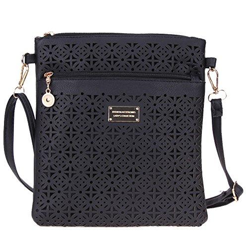 PB PEGGYBUY Fashion Crossbody Bag - Leisure Hollow Out Women Wallet Shoulder Crossbody Bag Black