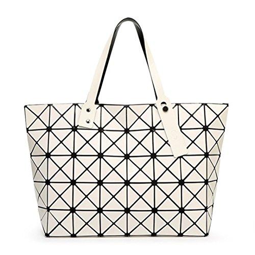 Handle Folding Tote White Top Ivory Women White Handbag Female Casual Bag Ladies Ivory Plain Bags Geometric Shoulder PU Sequins 5SSqwRXxr