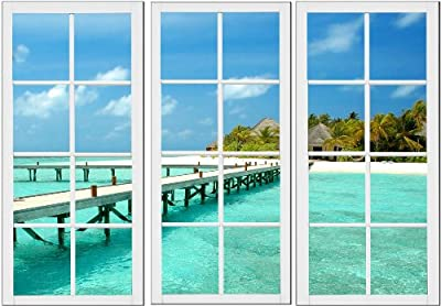 Startonight Canvas Wall Art Window for Holiday, Windows USA Design for Home Decor, Dual View Surprise Wall Art Set of 3 Total 31.5 X 47.2 Inch 100% Original Art Painting!