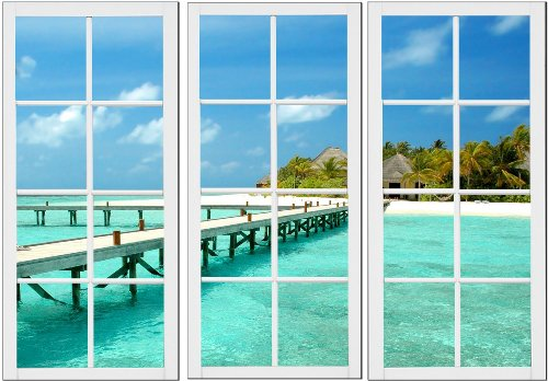 Startonight Canvas Wall Art Window for Holiday, Windows USA Design for Home Decor, Dual View Surprise Wall Art Set of 3 Total 47.2 X 70.87 Inch 100% Original Art Painting! by Startonight