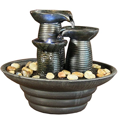River Rock Outdoor Indoor Water Fountain With Led Light - 1