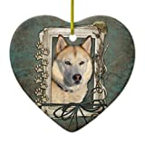 Christmas Tree Decorations Happy Birthday Stone Paws -siberian Husky Copper Ceramic Ornament Heart Christmas Ornament Crafts Xmas Gift