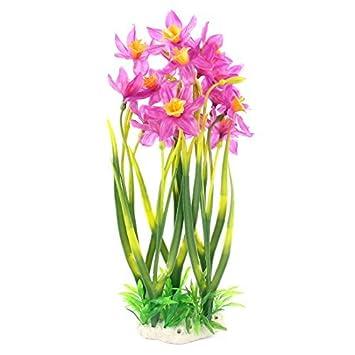 Amazon.com : eDealMax Acuario de plástico planta de la Flor de la simulación 38cm Alto Verde Amarillo Púrpura : Pet Supplies