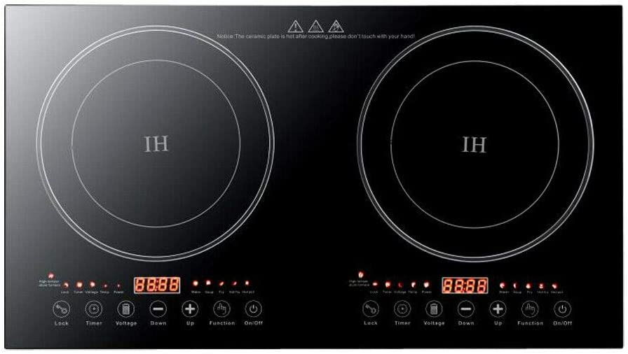 Black Crystal Panel Induction Cooker 110V Black Electric Hot Plate Stove Countertop Double Burner Dual Countertop Electric Cooktop 1200W with 8 Gear Firepower Induction Stove Cooker For Griddle, Pan