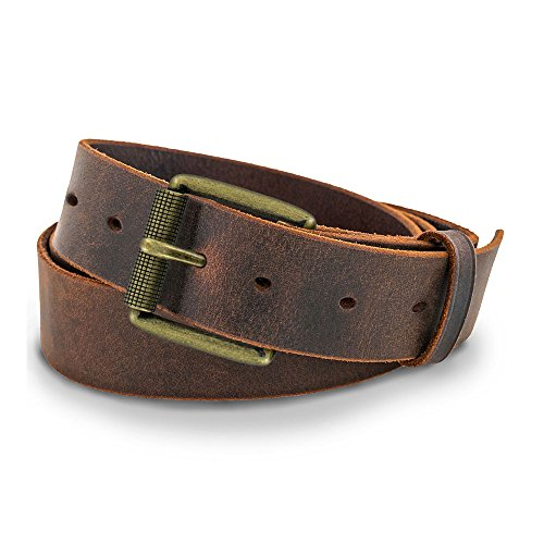 Hanks A1100 Casual Jean Belt - Crazy Horse Leather-Brass Buckle - 42 (Denim Leather Belt)