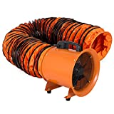 VEVOR Utility Blower 12 inch Ventilator Blower 2800RPM Extractor Fan Blower Portable Industrial High Velocity Blower with 10 m Flexible PVC Ducting(with 10m Hose) For Sale