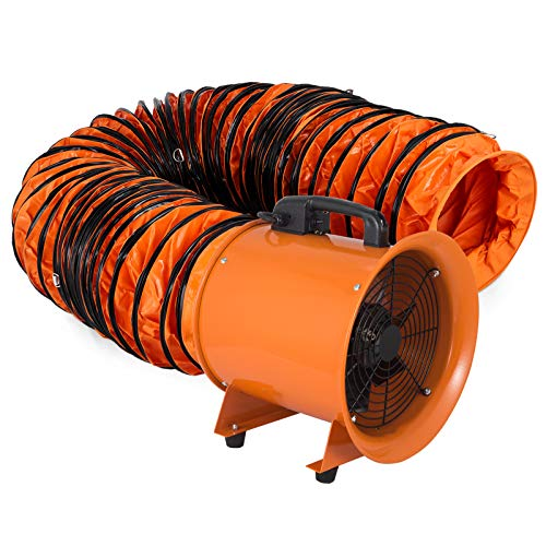 VEVOR Utility Blower 12 inch Ventilator Blower 2800RPM Extractor Fan Blower Portable Industrial High Velocity Blower with 10 m Flexible PVC Ducting(with 10m Hose) (Industrial Portable Fan)
