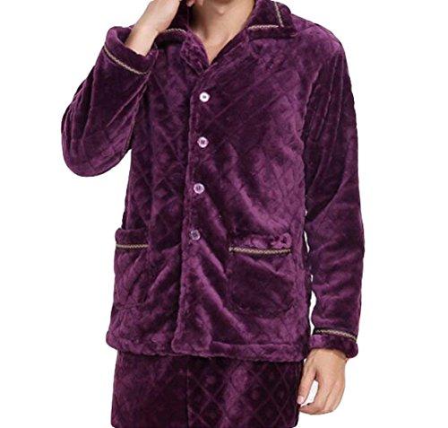 Degli Due Lunghe Soddisfare Domestico Del Purple Caldo Maniche Pfsyr Pigiami Servizio Maschi I Di Flanella Cardigan A Il Uomini Inverno CaTtqaB4U