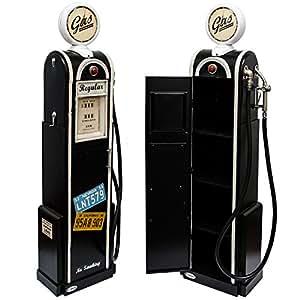 Surtidor de gasolina negro retro - réplica - incl. Reloj, manguera y estantería - ancho/profundida/alto ~ 50x35x180 cm