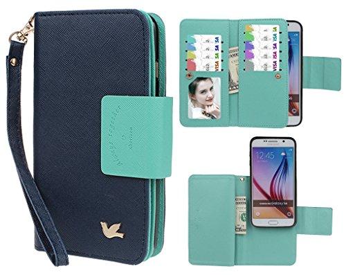 Case for Samsung S6,xhorizon TM FLK Premium Leather Folio Case [Wallet] [Magnetic Detachable] Wristlet Purse Flip Multiple Card Slots Bird Case Cover for Samsung Galaxy S6 G9200 (Navy)