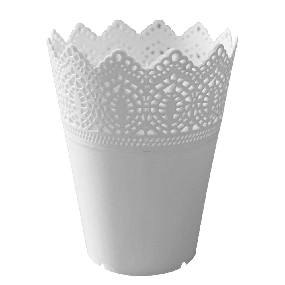 White plastic plant pots amazon lumanuby 1pcs flower pot stylish hollow lace plastic plant flower vase flower plastic plant pot mightylinksfo